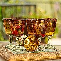 Wine glasses, 'Tortoise Shell' (set of 6) - Fair Trade Handblown Wine Glasses Set of 6 Mexico