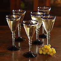 Wine glasses, 'Double Bubble' (set of 6) - Unique Handblown Glass Recycled Wine Drinkware from Mexico 6