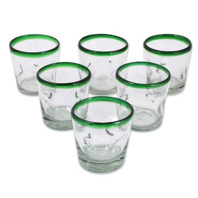 Juice glasses, 'Lime Freeze' (set of 6) - Handblown Glass Recycled Tumbler Juice Glasses Set of 6