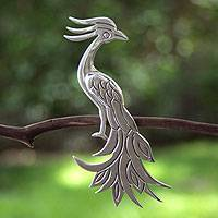 Sterling silver brooch pin, 'Quetzal' - Sterling silver brooch pin