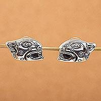 Sterling silver button earrings, 'Maya Jaguar' - Sterling silver button earrings