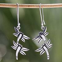 Sterling silver dangle earrings, 'Dragonfly Destiny' - Sterling silver dangle earrings