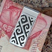 Sterling silver money clip, 'Hypnotic Waves' (Mexico)