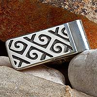 Sterling silver money clip, 'Hypnotic Waves' - Sterling silver money clip