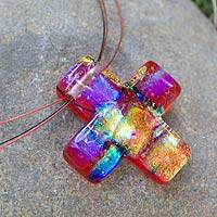 Dichroic art glass cross necklace Bright Cross (Mexico)