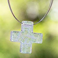 Dichroic art glass cross necklace, 'Cross of Light' - Hand Made Religious Cross Glass Pendant Necklace