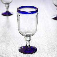 Wine glasses, 'Cobalt Joy' (set of 6) - Handblown Blue Rim Wine Glasses from Mexico (Set of 6)