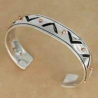 Men's sterling silver cuff bracelet, 'Copper Suns' - Men's sterling silver cuff bracelet