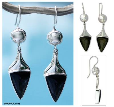 Obsidian dangle earrings, 'Aztec Arrows' - Handmade Obsidian Earrings with Mexico Sterling Silver