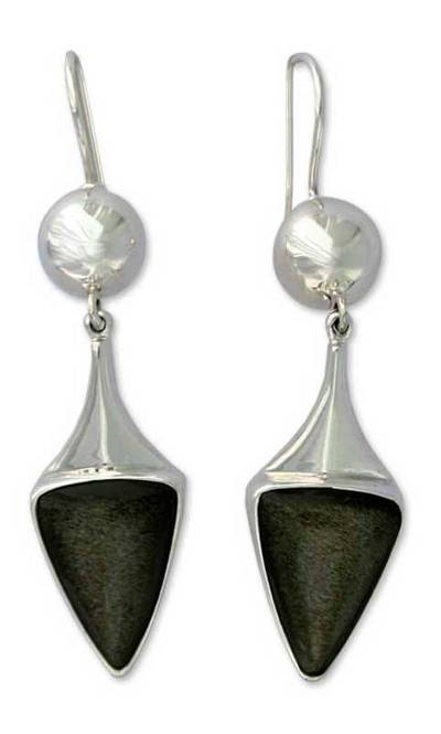 Handmade Obsidian Earrings with Mexico Sterling Silver