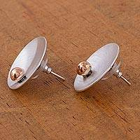 Sterling silver button earrings, Solitaire Sun