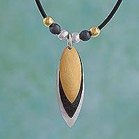 Sterling silver pendant necklace, 'Turning Leaves' - Modern Gold Accent Pendant Necklace