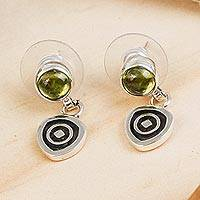Peridot dangle earrings, 'Hypnotize' - Modern Sterling Silver Peridot Earrings