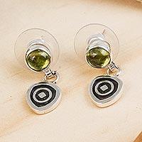 Peridot dangle earrings, 'Hypnotize'