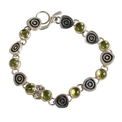 Handmade Taxco Sterling Peridot Bracelet