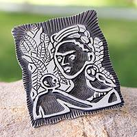Sterling silver brooch pin pendant, 'Self-Portrait with Monkey' (medium) - Sterling silver brooch pin pendant (Medium)