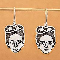 Sterling silver dangle earrings, 'Frida Kahlo Portrait' - Unique Taxco Silver Frida Kahlo Portrait Earrings