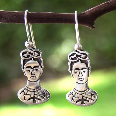 Sterling silver dangle earrings, 'To Frida' - Taxco Silver Sterling Silver Dangle Earrings