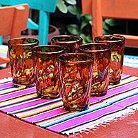 Glasses, 'Conical Tortoise Shell' (set of 6) - Six Collectible Handblown Glass Recycled Tumblers Drinkware