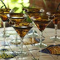 Martini glasses, 'Tortoise Shell' (set of 6) - Mexican Handblown Glass Recycled Brown Cocktail Set for 6