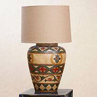 Ceramic table lamp, 'Diamond Blossom' - Artisan Crafted Ceramic Table Lamp