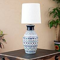Ceramic table lamp, 'Festive Blues' - Hand Painted Ceramic Table Lamp