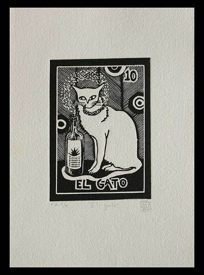 Mexico Folk Art Theme Signed Black and White Painting