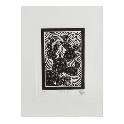 Mexico Folk Art Theme Signed Black and White Etching