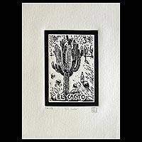 'The Cacti, Tequila Lotto' - Folk Art Signed Etching Mexico Fine Art