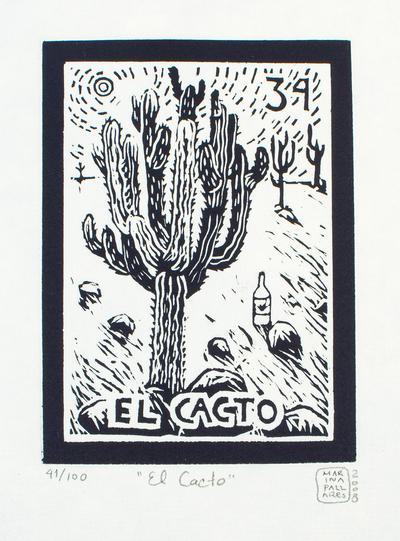 Folk Art Signed Etching Mexico Fine Art