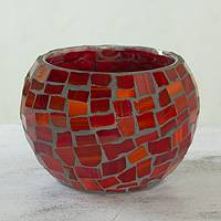 Stained glass candleholder, 'Light of Passion' - Mosaic Glass Candleholder