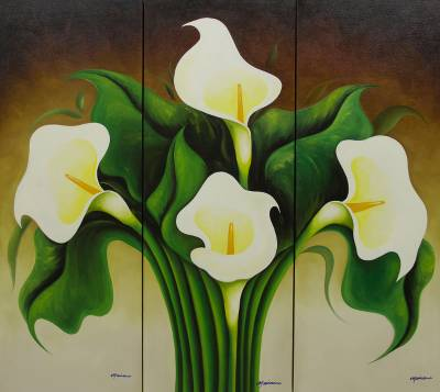 Fair Trade Floral Realist Painting (Triptych) - Calla ...