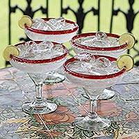 Margarita glasses, 'Ruby Afternoon' (set of 4) - Mexican Handblown Glass Red Rim Margarita Drinkware Set