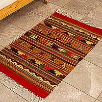 Zapotec wool rug, 'Winter Hills (2x3.5) - Small Earth Tone Geometric Zapotec Rug (2x3.5)