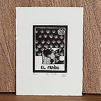 'The World, Tequila Lotto' - Artisan Crafted Folk Art Signed Etching
