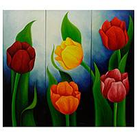 'Tulips in Blue' (triptych) - Floral Triptych Painting Signed Mexican Fine Art