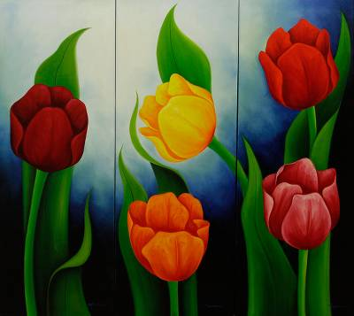 Floral Triptych Painting Signed Mexican Fine Art