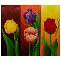 'Tulips' (triptych) - Floral Triptych Painting Signed Mexican Fine Art