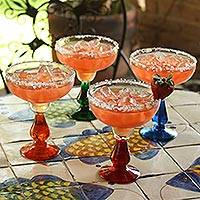 Blown glass margarita glasses, 'Cool Rainbow' (set of 4) - Handblown Recycled Glass Margarita Drinkware (Set of 4)