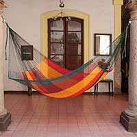 Cotton hammock, 'Red Wine Sunset' (single) - Single Mayan Rope Style Mexico Cotton Hammock