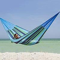 Cotton hammock, 'Ocean Dreams' (single) - Handcrafted Cotton Striped Rope Hammock (Single)