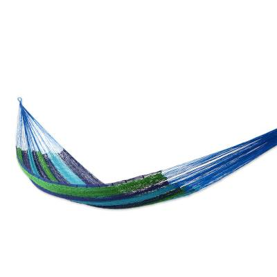 Handcrafted Cotton Striped Rope Hammock (Single)