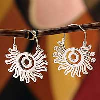 Sterling silver hoop earrings, 'Aztec Sun' - Sterling silver hoop earrings