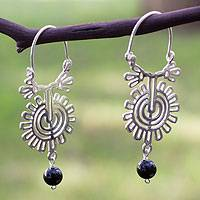 Onyx dangle earrings, 'Xico Flower' - Handcrafted Sterling Silver Onyx Earrings with Onyx