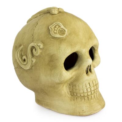 Skull Aztec Ceramic Statue Sculpture Altar Art Mexico