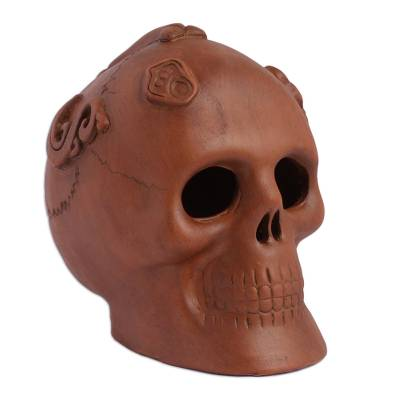Handmade Aztec Skull Ceramic Day of the Dead Sculpture