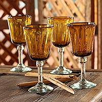 Blown glass wine glasses, 'Amber Glory' (set of 4) - Hand Blown Wine Glasses Set of 4 Golden Mexico