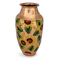 Copper and gold leaf vase,