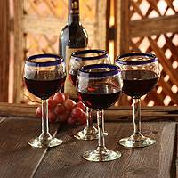 Blown glass wine glasses, 'Sapphire Globe' (set of 4) (Mexico)