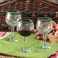 Blown glass wine glasses, 'Lime Globe' (set of 4) - Hand Blown Green Rim Wine Glasses Set of 4 Mexico